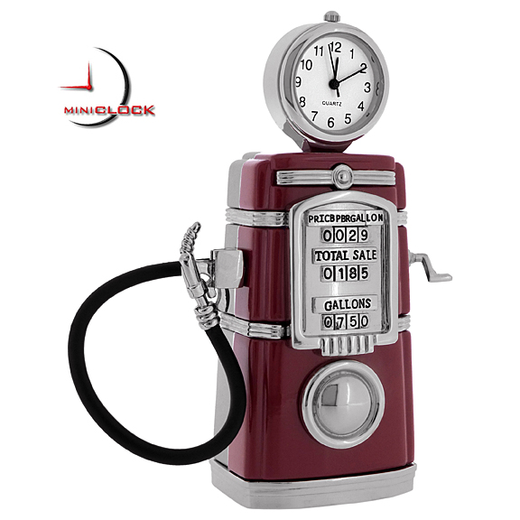 GAS PUMP MINIATURE VINTAGE STYLE PETROL COLLECTIBLE MINI CLOCK