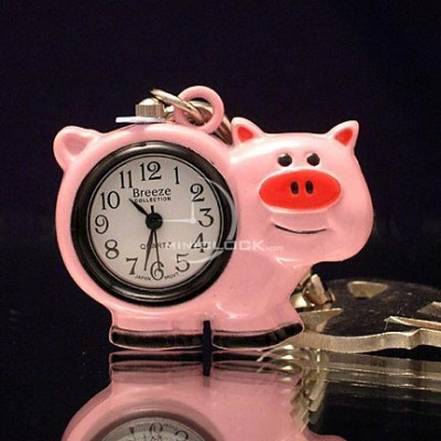 Mini Clocks, Cute Pink Pig Miniature Clock Keychain