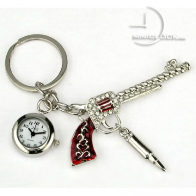 KEY CHAIN, Mini Clock Red Pistol Encrusted with gems