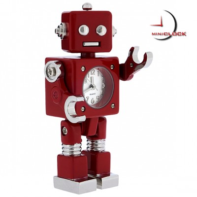 Miniature Clock, Red Sci Fi ROBOT Clock - Moveable!