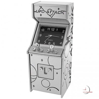 Mini Clock, Retro Video ARCADE GAME: UFO ATTACK - Silver