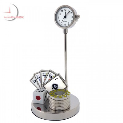 POKER ROYAL FLUSH CARDS Mini Clock - Spades / Casino
