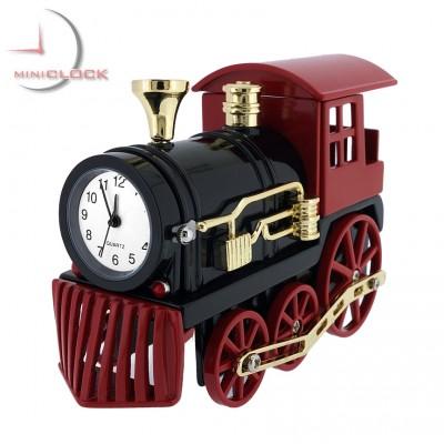 TRAIN VINTAGE STYLE MINIATURE STEAM ENGINE LOCOMOTIVE RAILROADANIA MINI  CLOCK