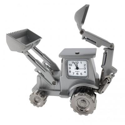 BACKHOE TRACTOR MINIATURE EXCAVATOR HEAVY EQUIPMENT COLLECTIBLE MINI CLOCK