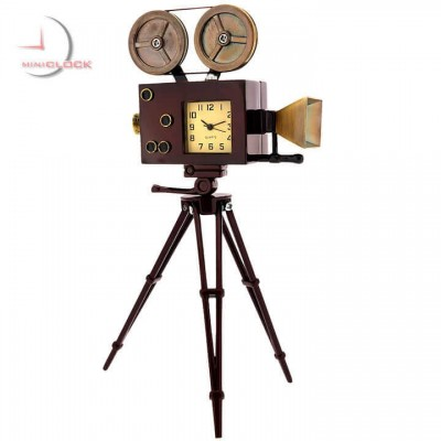 Miniature Antique MOVIE CAMERA Collectible Desktop Clock