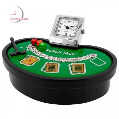 BLACKJACK MINIATURE BLACK JACK TABLE COLLECTIBLE CASINO GAMBLING CARDS GAME MINI CLOCK