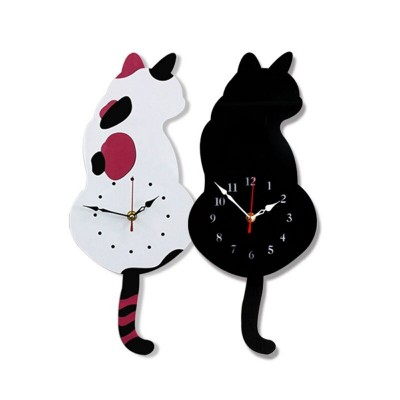 CREATIVE CAT WAGGING TAIL WALL CLOCK HOME DECOR DESIGN