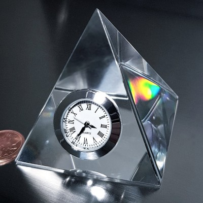 PRISM PYRAMID CRYSTAL MINI DESK CLOCK COLLECTIBLE GIFT IDEA