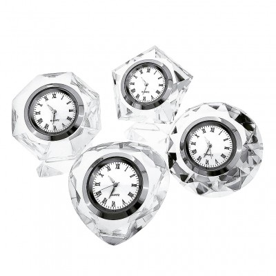 CRYSTAL CLOCK GROUP of FOUR: VALENTINES HEART DIAMOND OCTAGON & PENTAGON