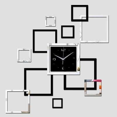 ELEGANT DESIGNER WALL CLOCK SQUARES PATTERN DIY HOME DECOR IDEA