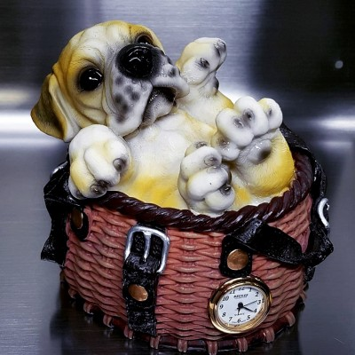 Dog, Animal Coin Bank Miniature Clocks, Mini Clock