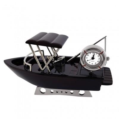 FISHING BOAT MINIATURE TRAWLER COLLECTIBLE MARINE COLLECTIBLE MINI CLOCK GIFT IDEA