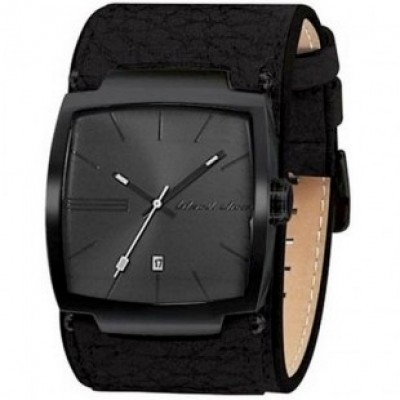 BLACK DICE WATCH FLOW w/ JUMBO DIAL & EXTRA WIDE BIKER STYLE LEATHER STRAP