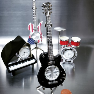 ELECTRIC GUITAR MINIATURE LES PAUL HOLLOW BODY MUSIC COLLECTIBLE MINI CLOCK