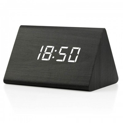 WOOD LED ALARM CLOCK with SOUND CONTROL