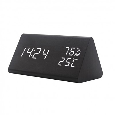 WOOD LED ALARM CLOCK: SOUND CONTROL, HUMIDITY, TEMP,  DAY & DATE