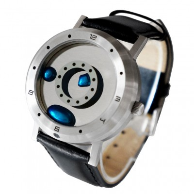 ELEENO LIQUID METAL WATCH w LEATHER STRAP BLUE DISPLAY