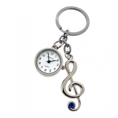 The product has been saved. MUSIC NOTE TREBLE CLEF MUSICIAN KEY CHAIN RING w WORKING MINI CLOCK CHARM