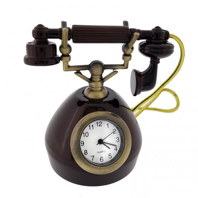 RETRO TELEPHONE VINTAGE STYLE MINIATURE PHONE COLLECTIBLE MINI CLOCK GIFT