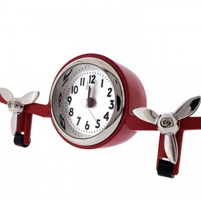 AIRPLANE MINIATURE TWO PROP HALF PLANE ALARM CLOCK COLLECTIBLE AVIATION MINI CLOCK