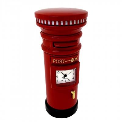 RED POST BOX BRITISH ROYAL MAIL MINIATURE DESK CLOCK