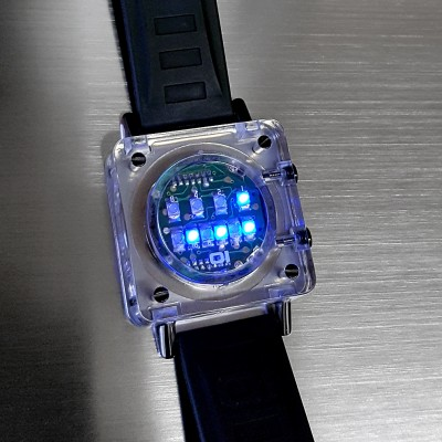 CUSTOM RAZOR BLOCK RARE BINARY LED WATCH w/ CLEAR CUBE CASE  & CIRCUIT BOARD FACE