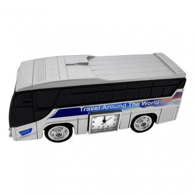 TRAVEL BUS MINIATURE GREYHOUND STYLE TOURBUS COLLECTIBLE MINI CLOCK