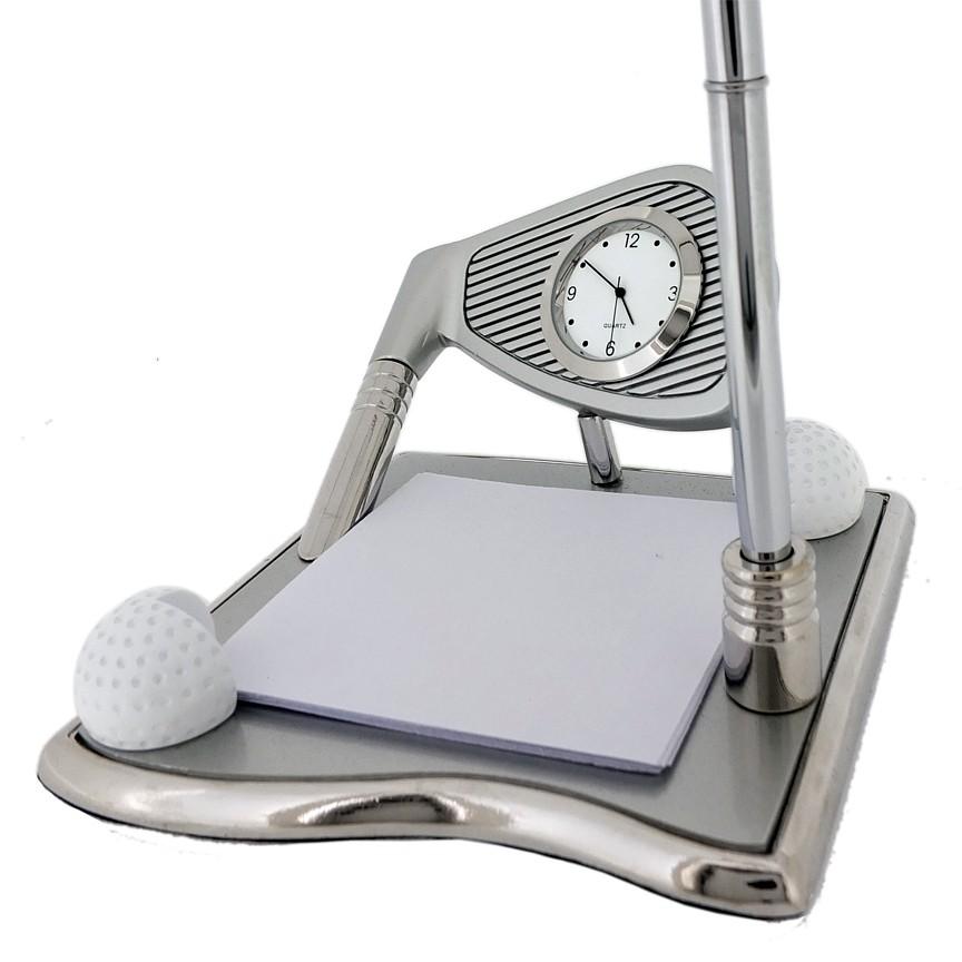 GOLF DESK SET w/ PEN & Clock Deluxe Clock Desktop Gift