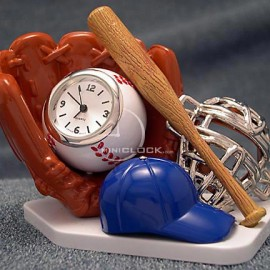Mini Clocks, Baseball Glove, Hat, Bat, Ball Clock Set