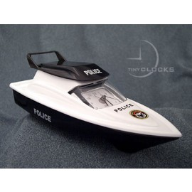 Miniature Clocks, Black Police SPEED BOAT Alarm Clock