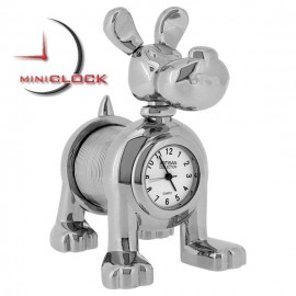 Miniature Clock, Collectible Silver SLINKY DOG