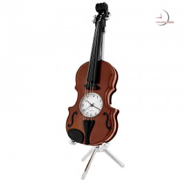 Miniature Clock, Exquisite Collectible VIOLIN - Brown