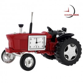 Mini Clock, Vintage Red FARM TRACTOR w/ Moving Wheels