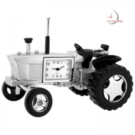 Mini Clock, Vintage Silver FARM TRACTOR w/ Moving Wheels