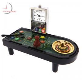 ROULETTE TABLE Casino Collectible Mini Clock - Wheel will spin!