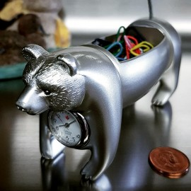 BEAR MINIATURE PAPERCLIP & NOTE HOLDER DESKTOP COLLECTIBLE MINI CLOCK