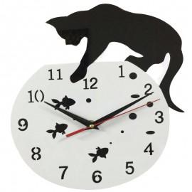 CAT & FISHBOWL WALL CLOCK ACRYLIC HOME DECOR
