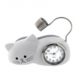 CAT w GRUMPY FACE BUSINESS CARD HOLDER MINIATURE MEMO HOLDER MINI CLOCK ANIMAL PET GIFT IDEA