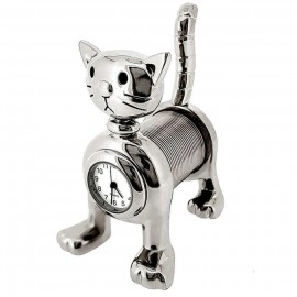 SPRING CAT MINI CLOCK BIZ CARD MEMO HOLDER COLLECTIBLE DESKTOP GIFT