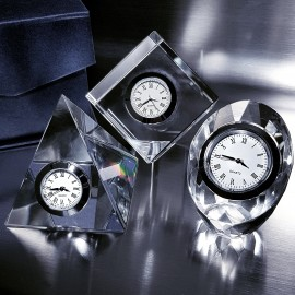 Group of Crystal Desk Clocks