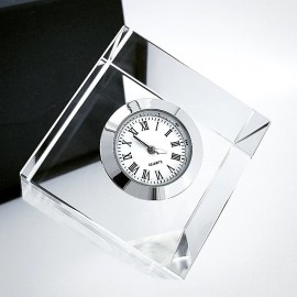 SQUARE CLEAR CRYSTAL MINI DESK CLOCK COLLECTIBLE GIFT IDEA