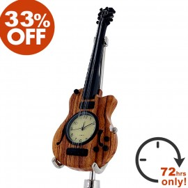 ELECTRIC GUITAR  Mini clock, LES PAUL Style - Woodgrain Sale