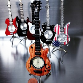 ELECTRIC GUITAR  Mini clock, LES PAUL Style - Woodgrain