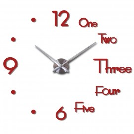 GIANT DIY 3D WALL CLOCK W STYLISH NUMBERS & WORDS