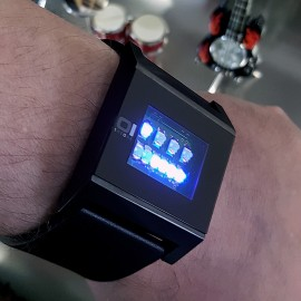 CUSTOM KERALA TRANCE RARE BINARY LED WATCH w/ GUNMETAL FINISH & CIRCUIT BOARD FACE