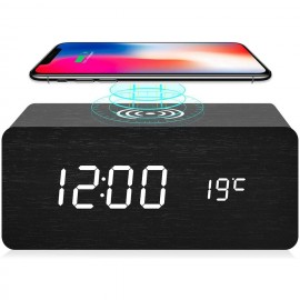 ALARM CLOCK WIRELESS PHONE CHARGER with BIG LED DISPLAY & SOUND CONTROL