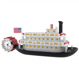 PADDLE WHEELER MINIATURE RIVER BOAT MINI CLOCK COLLECTIBLE DESKTOP GIFT