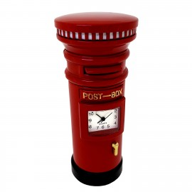 RED POST BOX BRITISH ROYAL MAIL MINIATURE DESK CLOCK