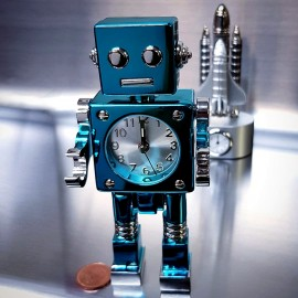 RETRO ROBOT ALARM CLOCK SCI-FI GEEK MINI COLLECTIBLE GIFT