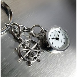 SHIPS WHEEL &  MINIATURE ANCHOR CHARM MARINE BOATING KEY CHAIN RING w WORKING MINI CLOCK